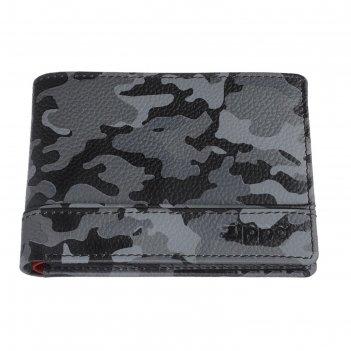 Портмоне zippo, серо-чёрный камуфляж, натуральная кожа, 11,2x2x8,2 см