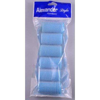 Набор 1332 бигуди-липучки 35 мм голубые мягкие (6 шт)