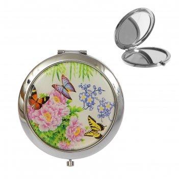 Зеркало складное круглое бабочки, 2-стороннее, с увеличением, цвета микс