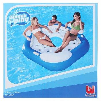 Шезлонг надувной для отдыха на воде для троих, 191х178 см (43111)