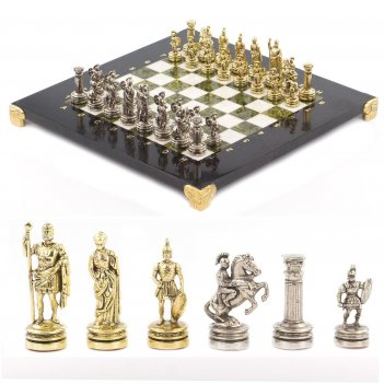 Шахматы римляне доска 280х280 мм мрамор змеевик металл