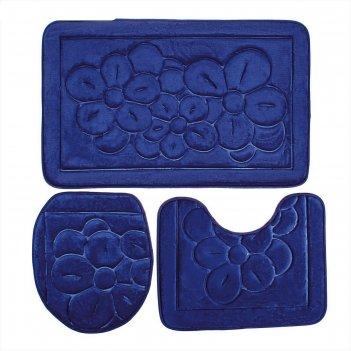Набор ковриков для ванной и туалета, 3 шт, 50х80, 50х40, 36х43 см, голубой