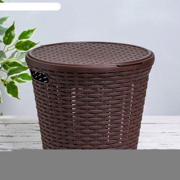 Корзина для белья круглая с крышкой 15л ротанг коричневый