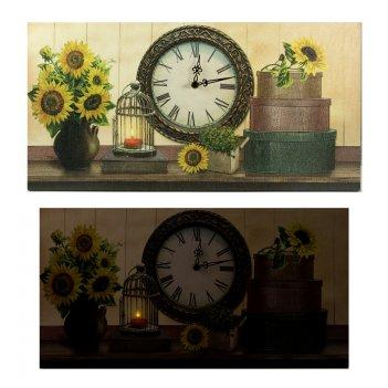 Часы настенные подсолнухи с led подсветкой 60*30*2см