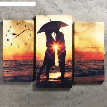 Часы настенные модульные «влюблённая пара на берегу», 60 x 80 см