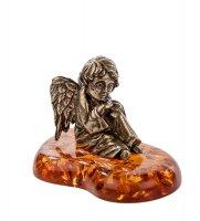 Am-202 фигурка ангел (латунь, янтарь)