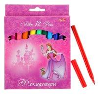 Фломастеры 12цв принцессы на розовом с европодвесом