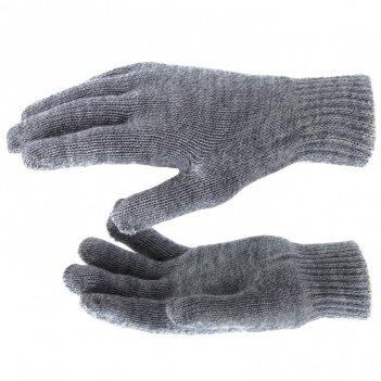 Перчатки трикотажные, акрил, двойные, серое мулине, двойная манжета россия