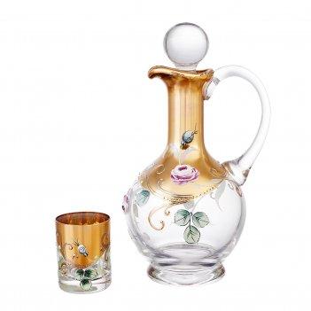 Набор для ликера bohemia смальта алые розы 7 предметов