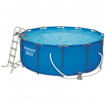 Бассейн каркасный steel pro max, 366 х 122 см, фильтр-насос, лестница, тен