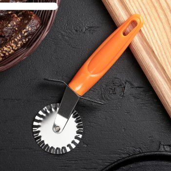 Нож для пиццы и теста ребристый 19 см оранж
