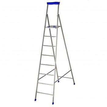 Стремянка металлическая, 8 ступеней, высота до рабочей площадки 173 см