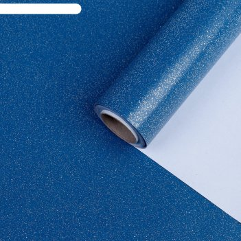Бумага упаковочная, звездная пыль, с блёстками, неоновый синий, 0,7 x 5 м
