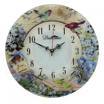Настенные часы из стекла династия 01-052 незабудки-2
