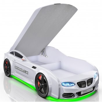 Кровать romack real-м x5, 1900 x 800 мм, подсветка дна и фар, цвет белый