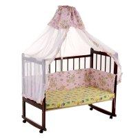 Комплект в кроватку, 2 предмета, розовый, рисунок микс