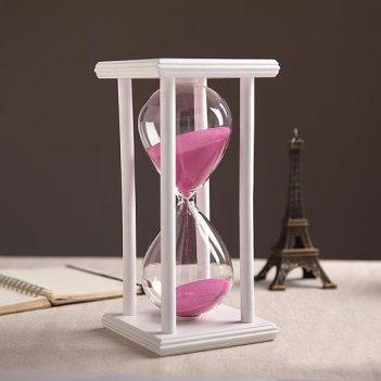 Песочные часы белые с розовым песком на 60 минут