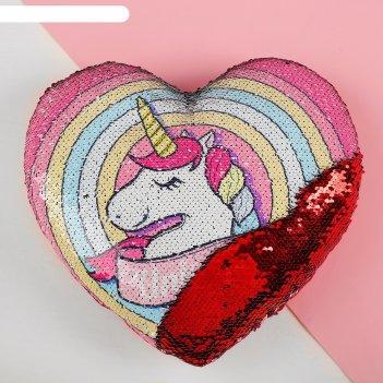 Подушка сердце единорог двусторонние пайетки, цвет красный