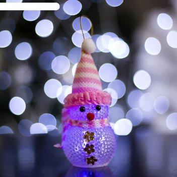 Игрушка световая снеговик (батарейки в комплекте) 5х13 см, 1 led rgb, розо