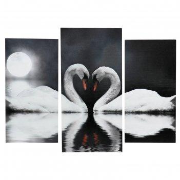 Модульная картина на подрамнике лебеди в ночи, 2 шт. — 25x50, 1 шт. — 30x6