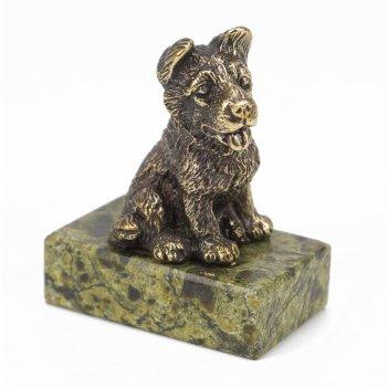 Статуэтка собачка средняя №2 бронза змеевик 50х30х50 мм 160 гр.