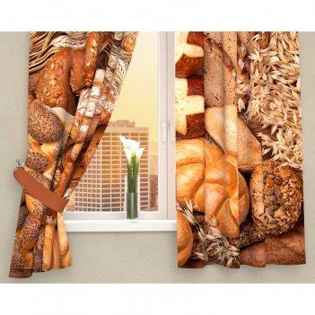 Фотошторы кухонные ароматный хлеб, размер 145х160 см-2 шт, габардин 01908