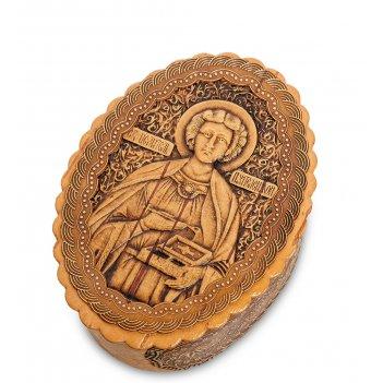 Bst-140 шкатулка  святой целительпантелеймон (береста)