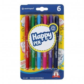 Фломастеры 6цв centropen 4601/6 happy pen, 0,7 мм, блистер, европодвес 546