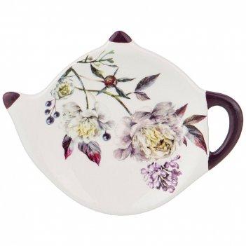Подставка под чайный пакетик пурпур 12*8,5 см. высота=1,5 см. (кор=144шт.)