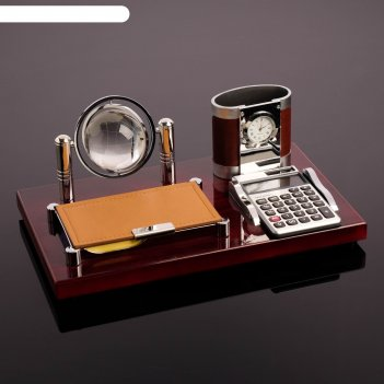 Набор настольный 4в1 (блок д/бумаг, карандашница с часами, калькулятор, гл