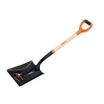 Лопата совковая прямоугольная, черенок ясень,  ручка с антискользящей вста