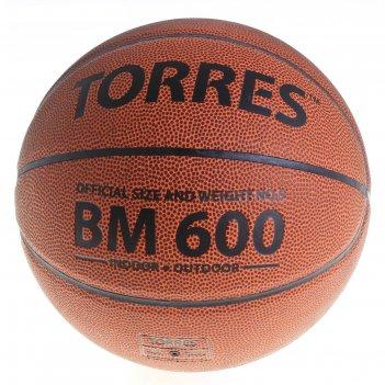 Мяч баскетбольный torres bm600 р.5, пвх, темно-оранжево-черный