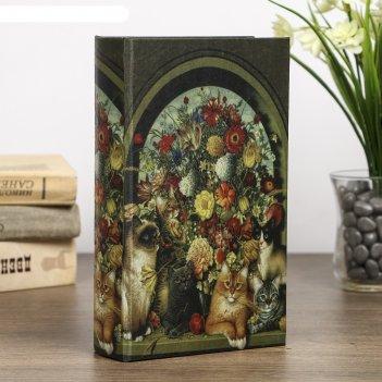 Сейф-книга дерево под шёлк кошки у пышного букета 21х13х5 см