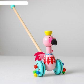 Детская каталка на палочке «животные с бусинками на колёсах» 17х9х50 см, м