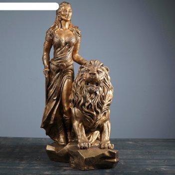Садовая фигура девушка со львом бронза 37х57х76см
