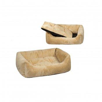 Лежанка меховая кугуар прямоугольная с подушкой, 71 х 53 х 51 см, бежевая