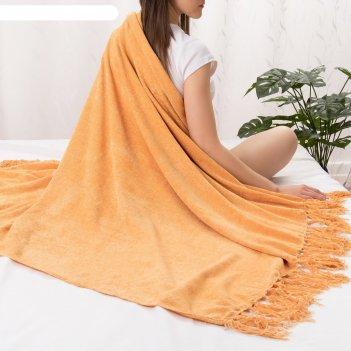 Плед этель 125*150см, цв. оранжевый, акрил, 100% полиэстер
