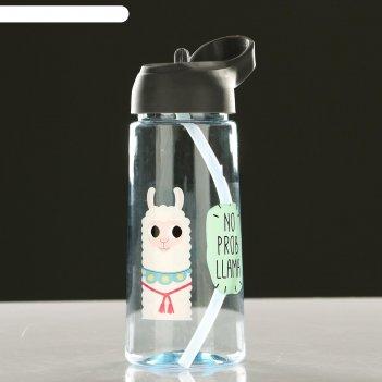 Бутылка для воды 550 мл милые зверюшки с поильником, микс, 8.5х20 см