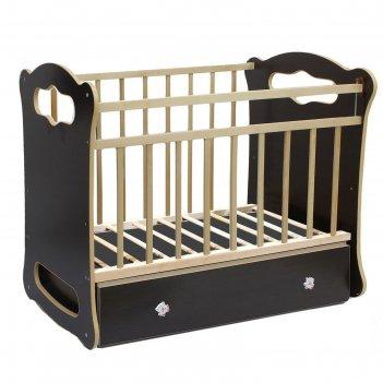 Детская кроватка бьянка с поперечным маятником и ящиком, цвет венге-клен