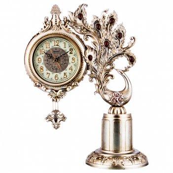 Часы настольные кварцевые павлин цвет: бронза 36*18*46 см. диаметр=14 см.