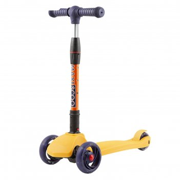Самокат maxiscoo baby delux со светящимися колёсами, цвет жёлтый