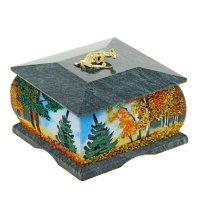 Шкатулка осень с рисунком с ящеркой 9,5х9,5х7 см 112222 змеевик