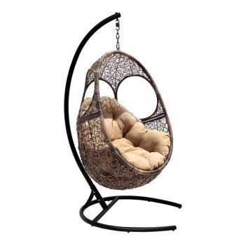 Подвесное кресло solar coffee ми  (195), каркас черный, подушка светло - б