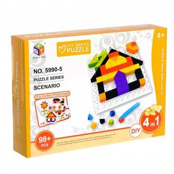 Мозаика детская домик, 98 деталей
