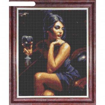 Канва схема для креста «девушка с бокалом», элитная серия, 23 х 30 см