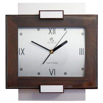 Часы настенные aс-03  темный орех  со стеклом 300х270х40 мм