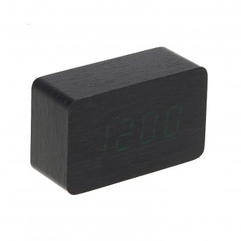 Часы-будильник электронные бертрано, настенные, тёмное дерево, зелёные циф