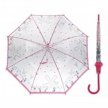 Зонт детский полуавтомат зайчата, розовый, d=90 см