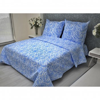 Постельное бельё 2 сп. la marka home рис.огурцы синие 69(2) 175х210, 180х2