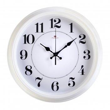 Часы настенные круглые классика, микс  рубин  35 см белые, ободок белый,